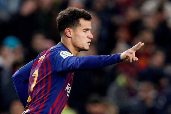 Philippe Coutinho ketika masih berseragam FC Barcelona. - Reuters/Albert Gea