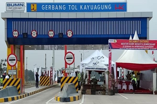 gerbang tol Kayuagung yang merupakan bagian dari ruas Jalan Tol Trans Sumatra. Istimewa