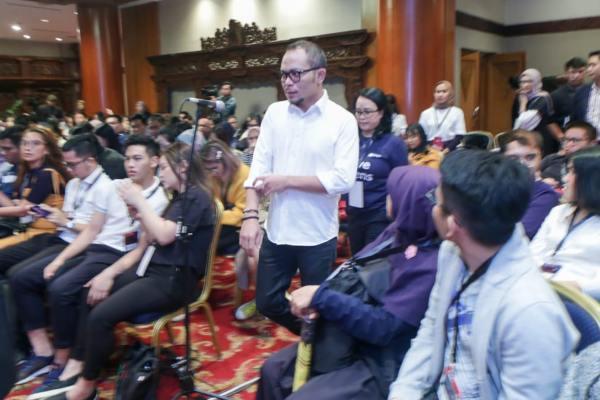 Menteri Ketenagakerjaan M. Hanif Dhakiri saat menghadiri Ideafest 2019 di Jakarta, Sabtu (5/10 - 2019).