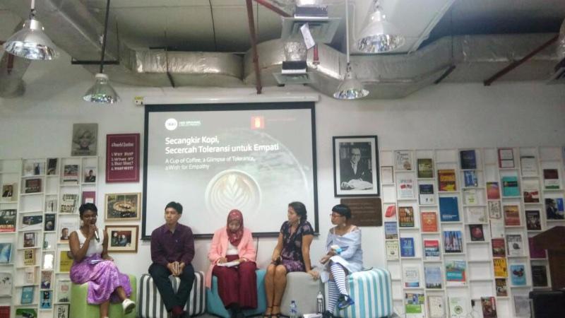 Acara Secangkir Kopi, Secercah Toleransi untuk Empati yang digelar Bengkel Diplomasi Foreign Policy Community of Indonesia (FPCI) di Jakarta, Rabu (16/10/2019). - Bisnis/Reni Lestari
