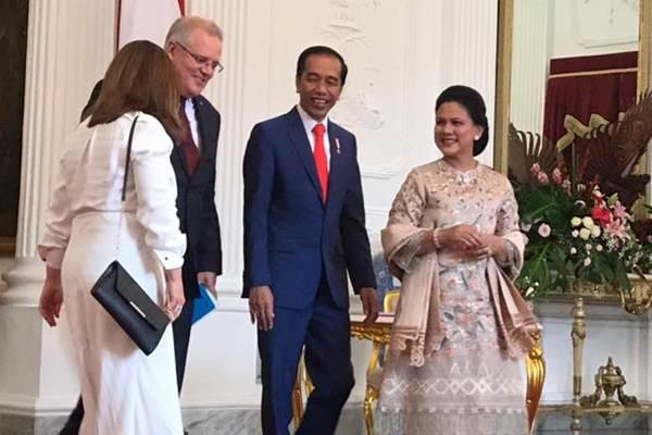 Presiden Joko Widodo menerima kunjungan kehormatan Perdana Menteri Australia Scott Morrison di Istana Merdeka, Minggu (20/10/2019). - Istimewa
