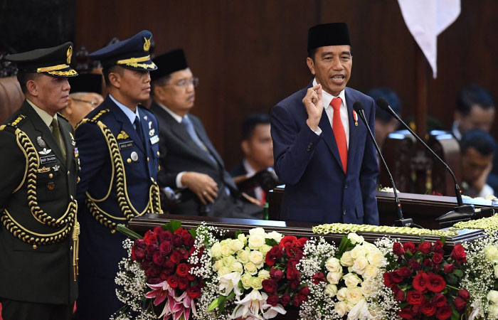 Presiden Joko Widodo menyampaikan pidato seusai dilantik menjadi Presiden ke-9 periode 2019-2024 di Gedung Nusantara, kompleks Parlemen, Senayan, Jakarta, Minggu (20/10/2019). Antara - Akbar Nugroho Gumay