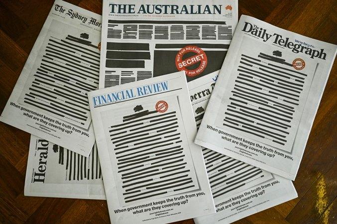 Halaman depan surat kabar utama Australia menunjukkan kampanye 'Hak Anda untuk mengetahui