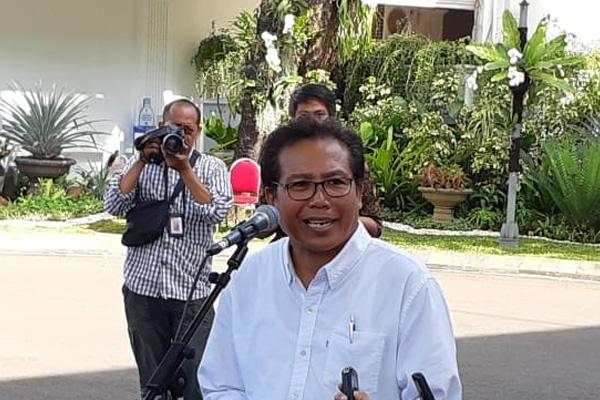 Fadjroel Rahman seusai bertemu Presiden Joko Widodo di Istana Kepresidenan Jakarta, Senin (21/10/2019) - Bisnis/Amanda Kusuma Wardhani