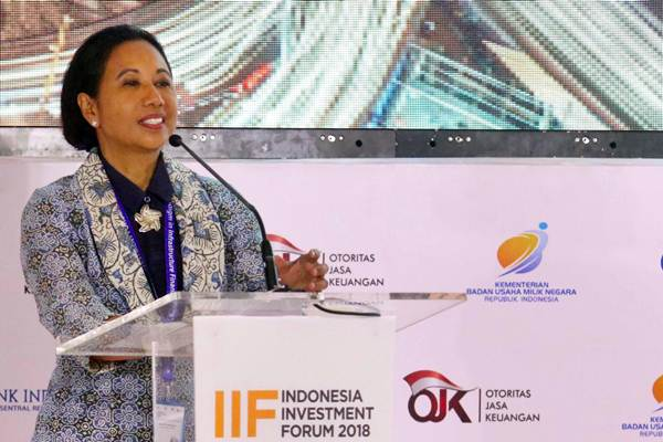 Menteri BUMN Rini Soemarno memaparkan materi saat pembukaan Indonesia Investment Forum 2018 di Nusa Dua Bali, Selasa (9/10/2018). - JIBI/Abdullah Azzam