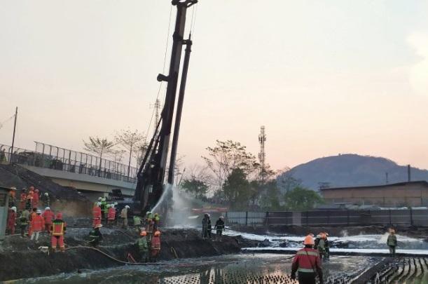 Lokasi pipa Pertamina yang bocor dan terbakar akibat proyek kereta cepat - Antara