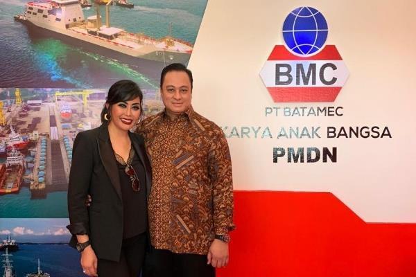 Presiden Direktur PT Batamec Shipyard Maya Miranda Ambarsari dan suaminya, Andreas Reza - Istimewa