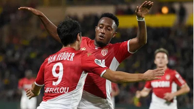 Penyerang AS Monaco Wissam Ben Yedder (kiri) melakukan selebrasi bersama Gelson Martins seusai menjebol gawang Nantes dalam lanjutan Ligue 1 Prancis di Stadion La Beaujoire-Louis-Fonteneau, Nantes. - Antara-AFP