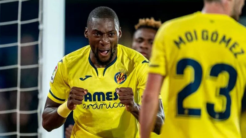Penyerang Villarreal Karl Toko Ekambi selepas menjebol gawang Alaves. - Twitter@VillarrealCF