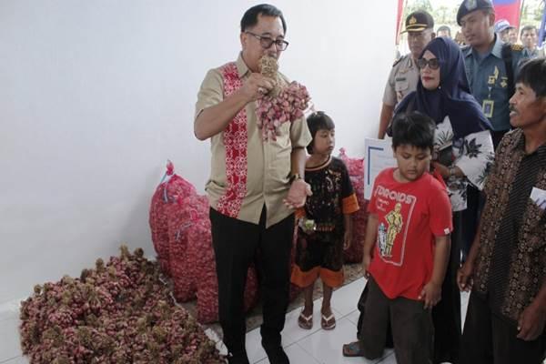 Wali Kota Balikpapan Rizal Effendy saat meninjau hasil panen Kelompok Tani Hikma. - Bisnis.com/ Fariz Fadhillah