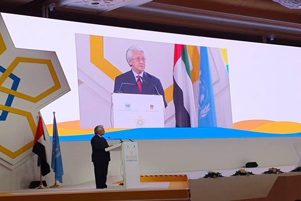 Dubes/Wakil Tetap RI untuk PBB di Wina, Darmansjah Djumala berbicara di Sidang Umum UNIDO di Abu Dhabi, Persatuan Emirat Arab, tanggal 3-7 November 2019. - Dok. KBRI Wina