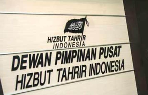 Ilustrasi-Logo Hizbut Tahrir Indonesia di kantor DPP Hizbut Tahrir Indonesia (HTI), Menteng Dalam, Tebet, Jakarta, Senin (8/5) sebelum organisasi ini dinyatakan terlarang. - Antara/Aprillio Akbar