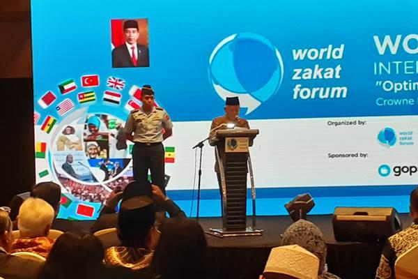 Wapres Ma'ruf Amin saat membuka World Zakat Forum yang berlangsung di Bandung, Jabar, 5 November 2019. - Bisnis/Hadijah