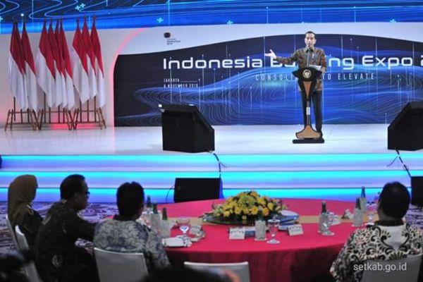 Presiden Joko Widodo memberikan sambuatn dalam acara Indonesia Banking Expo 2019. - Setkab