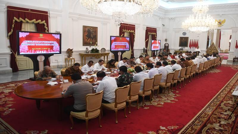 Suasana sidang kabinet paripurna di Istana Merdeka, Jakarta, Kamis (24/10/2019). - Antara