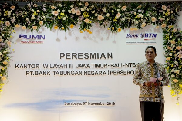 Direktur Network & Distribution Bank BTN, Dasuki Amsir, menyampaikan sambutan relokasi Kantor BTN Wilayah 3 ke Gedung Graha Sudirman di Surabaya, Jawa Timur, Kamis (7/11/2019). - Ist