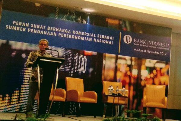 Kepala Grup Pengembangan Infrastruktur, Kredibilitas dan Pengaturan Pasar Keuangan Bank Indonesia Priyanto B. Nugroho memberikan sambutan dalam sosialisasi Peran Surat Berharga Komersial Sebagai Sumber Pendanaan Perekonomian Nasional. - Bisnis/Asteria Desi Kartika Sari