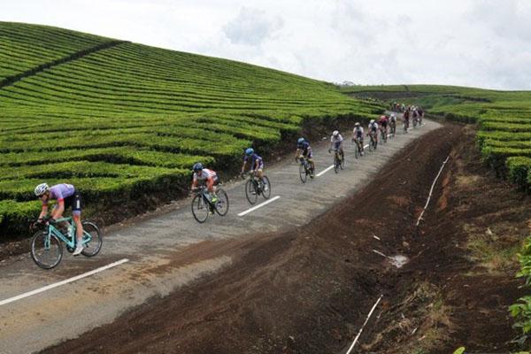 Para pembalap sepeda beradu cepat di etape VII Tour de Singkarak 2019 di Kerinci, Jambi. - Antara/Wahdi Septiawan
