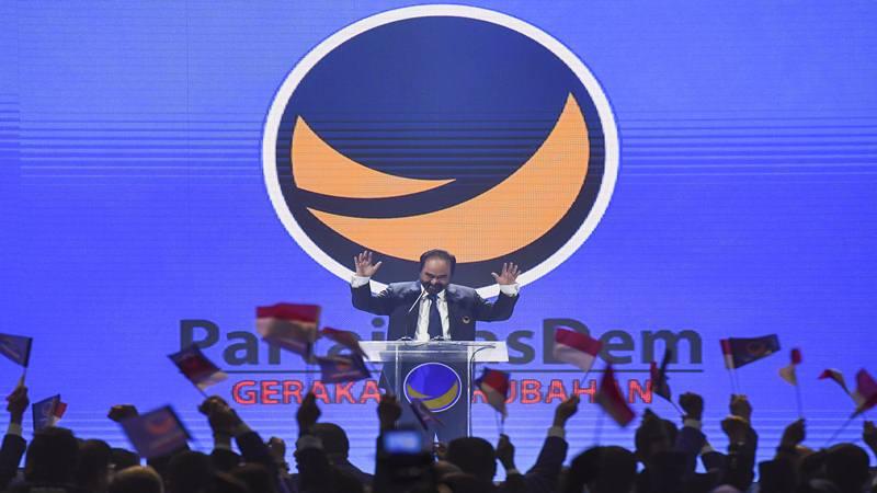 Ketua Umum Partai NasDem Surya Paloh memberikan sambutan saat pembukaan Kongres II Partai NasDem di JIExpo, Jakarta, Jumat (8/11/2019). Kongres II Partai NasDem yang digelar 8-11 November itu mengusung tema Restorasi Untuk Indonesia Maju. - Antara