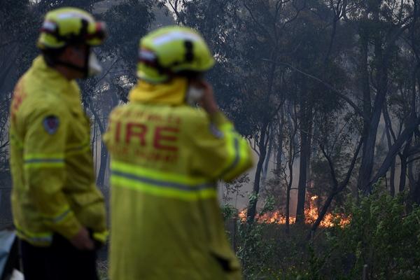 Petugas dari the New South Wales Rural Fire Service memadamkan api di Woodford NSW Australia/AAP Image/Dan Himbrechts - via REUTERS
