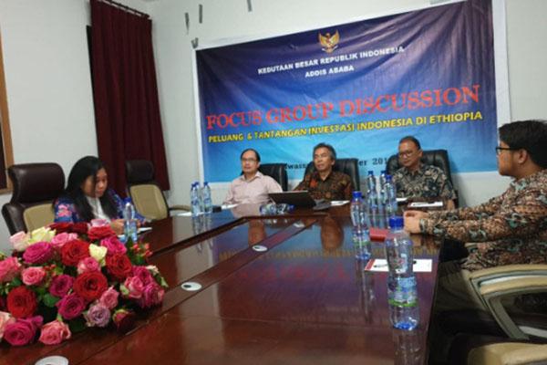 FGD yang diselenggarakan Kedutaan Besar RI (KBRI) Addis Ababa bersama sejumlah pimpinan perusahaan Indonesia dan perusahaan asing yang dipimpin orang Indonesia di Hawassa, Ethiopia. - Istimewa