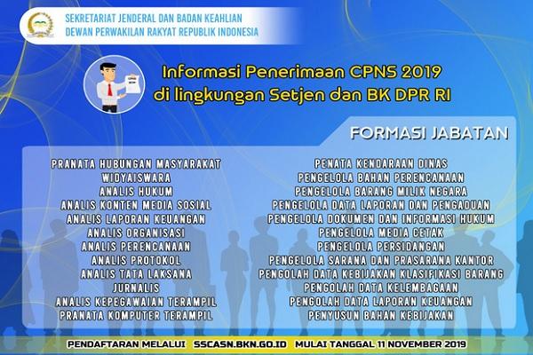 Informasi penerimaan CPNS 2019 di lingkungan DPR RI - Twitter @DPR/RI