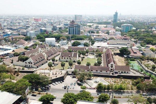 Benteng Ujung Pandang atau benteng Rotterdam terlihat dari udara, Jumat (18/10). - Bisnis/Paulus Tandi Bone