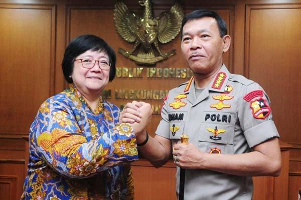 Menteri Lingkungan Hidup dan Kehutanan (LHK) Siti Nurbaya Bakar dan Kapolri Jenderal Pol. Idham Aziz sepakat meningkatkan sinergi dalam penanganan masalah-masalah kehutanan dan lingkungan. - Istimewa
