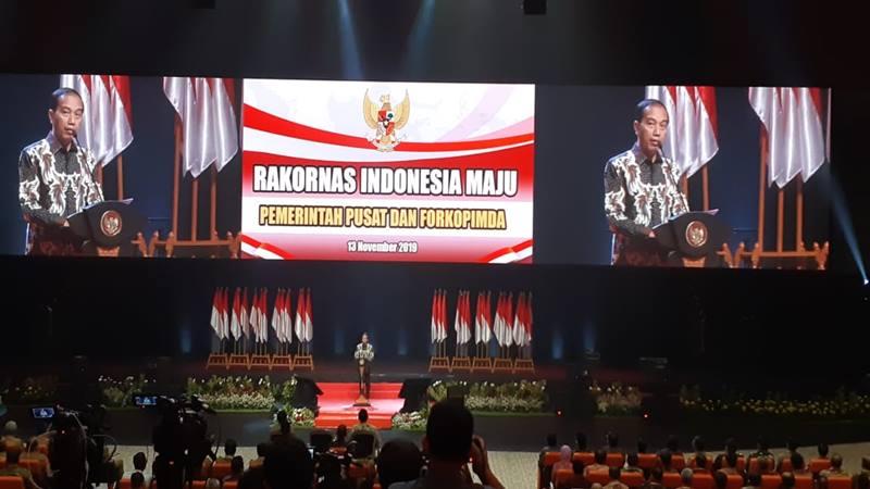 Presiden Joko Widodo memberikan sambutan dalam Rapat Koordinasi Nasional Indonesia Maju Pemerintah Pusat dan Forkopimda 2019 di Sentul, Rabu (13/11/2019). JIBI/Bisnis - Amanda Kusumawardhani