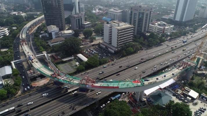 Jembatan lengkung LRT Jabodebek - Facebook/Presiden Joko Widodo