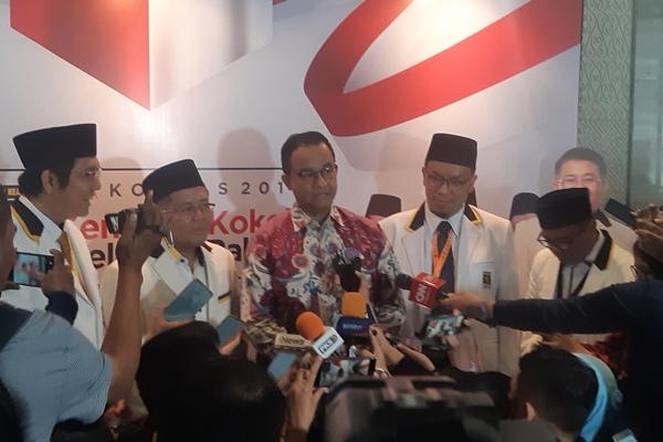 Gubernur DKI Jakarta Anies Baswedan saat menghadiri rapat kerja nasional Partai Keadilan Sejahtera di Jakarta, Kamis (14/11/2019) - Bisnis/Jaffry Prabu Prakoso