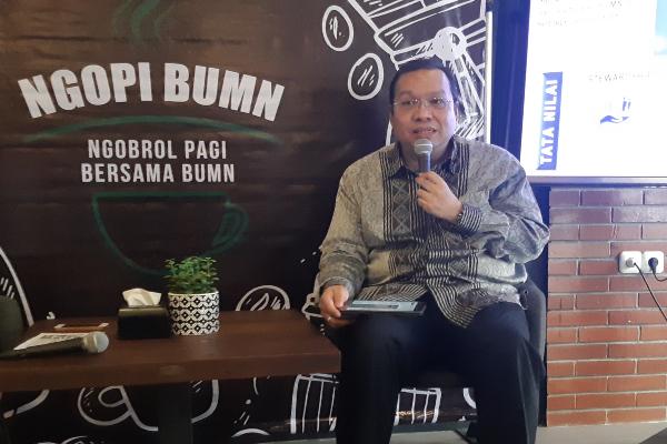 Direktur Utama PT Perusahaan Pengelola Aset (Persero) Iman Rachman di acara Ngobrol Pagi Bersama BUMN, di Jakarta, Kamis (24/10/2019). - Bisnis/Annisa S. Rini