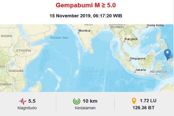 Gempa bumi berkekuatan M 5,5 mengguncang Bitung Sulawesi Utara, Jumat (15/11/2019). - Dok. BMKG