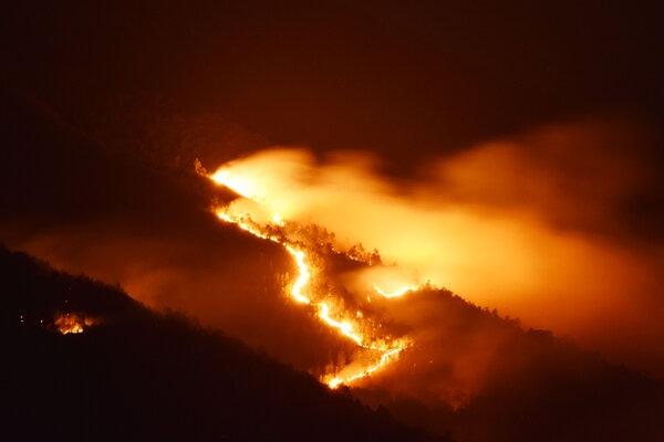 Gunung Lawu terbakar terlihat dari Desa Sidokerto, Kecamatan Sidorejo, Magetan, Jawa Timur, Jumat (15/11/2019). Gunung Lawu sisi timur terbakar sejak Jumat siang dan belum diketahui penyebabnya. - Antara/Siswowidodo