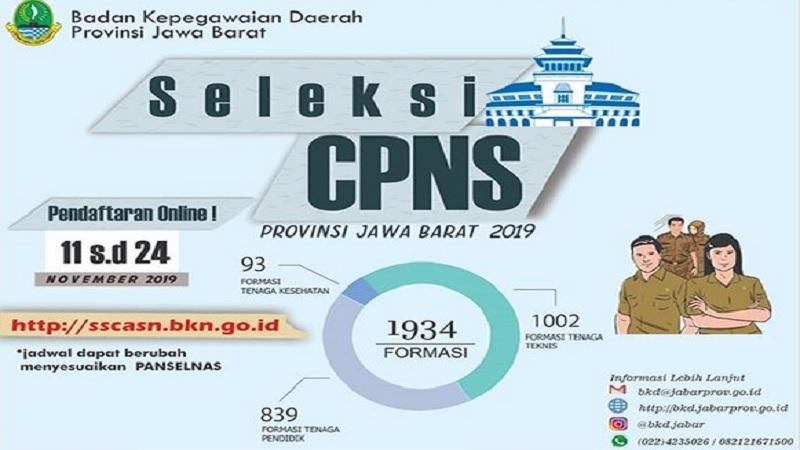 Pemprov Jawa Barat membuka pendaftaran CPNS 2019 untuk 1.934 formasi. - Instagram @bkd.jabar