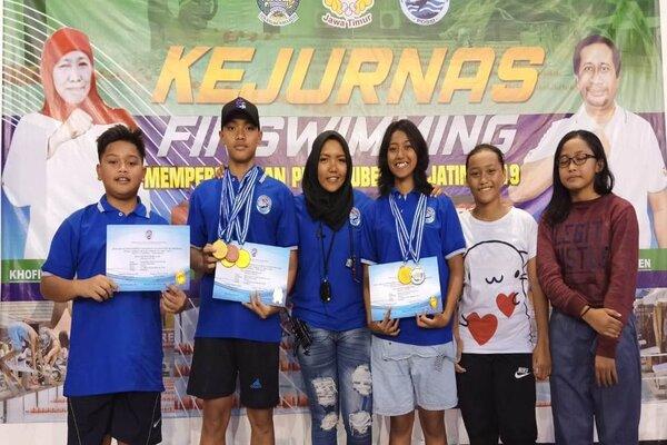 Atlet selam asal Kota Malang berhasil meraih 4 emas, 1 perak, dan 2 perunggu pada Kejuaraan Nasional Finswimming antar kabupaten/kota se-Indonesia 2019 di Surabaya, 16-17 November 2019. - Istimewa