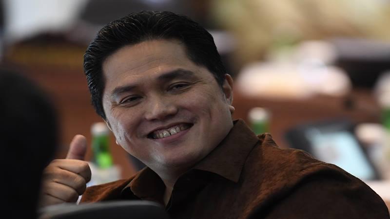 Menteri BUMN Erick Thohir mengikuti Sidang Kabinet Paripurna di Kantor Presiden, Jakarta, Kamis (14/11/2019). Sidang kabinet tersebut membahas Rencana Pembangunan Jangka Menengah Nasional (RPJMN) 2020-2024. - Antara