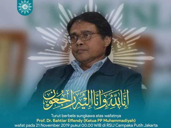 Ucapan bela sungkawa atas wafatnya Prof. Dr. Bachtiar Effendy dari PP Muhammadiyah - Twitter