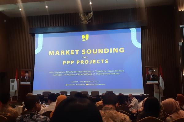 Suasana menjelang pemaparan Menteri PUPR pada acara penjajakan pasar empat ruas tol di Jakarta, Kamis (21/11/2019) - Bisnis/Aprianus Doni T.