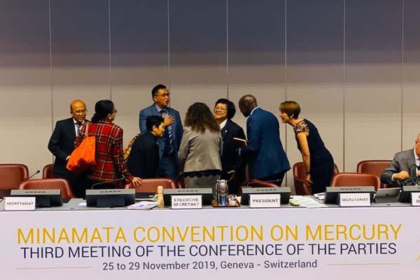 Menteri Lingkungan Hidup dan Kehutanan (LHK) Siti Nurbaya Bakar memimpin delegasi Indonesia dalam Conference of the Parties (COP) Konvensi Minamata di Jenewa, Swiss, Senin (25/11/2019) malam waktu setempat. - Istimewa
