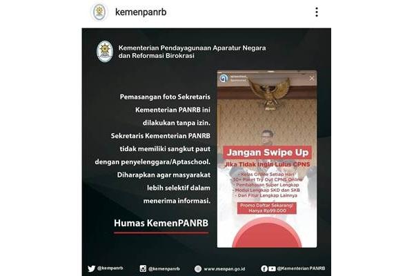 Tangkapan layar penjelasan KemenPANRB tentang pemasangan foto Sekretaris Kementerian PANRB terkait Aptaschool