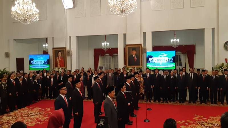 Presiden Joko Widodo melantik 12 wakil menteri jajaran Kabinet Indonesia Maju, Jumat (25/10/2019). JIBI/Bisnis - Amanda Kusumawardhani