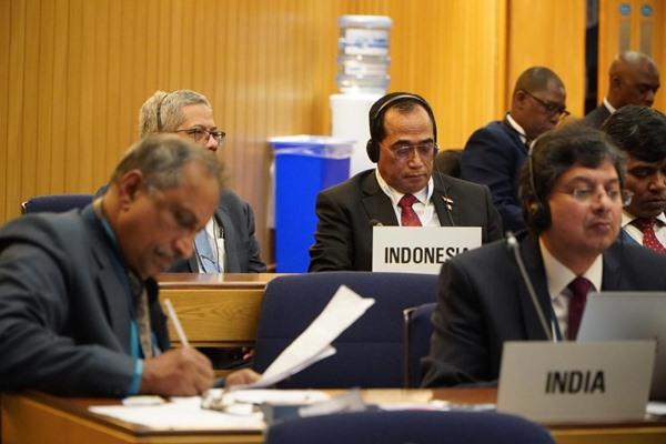 Menteri Perhubungan Budi Karya Sumadi di sela-sela Sidang Majelis International Maritime Organization (IMO) ke-31 di London, Inggris, Selasa (26/11/2019). BISNIS - Istimewa
