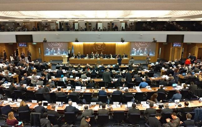 Suasana Sidang Majelis International Maritime Organization (IMO) ke-31 di London, Inggris pada Selasa ( 26/11 - 2019).BISNIS/Ana Noviani