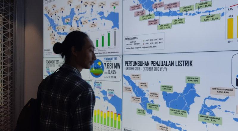 Pengunjung menyaksikan tampilan data yang ditunjukkan pada Pusat Pengelola Informasi dan Solusi (P2IS) di kantor PT PLN (Persero), Rabu (27/11/2019). - Bisnis/Ni Putu Eka Wiratmini