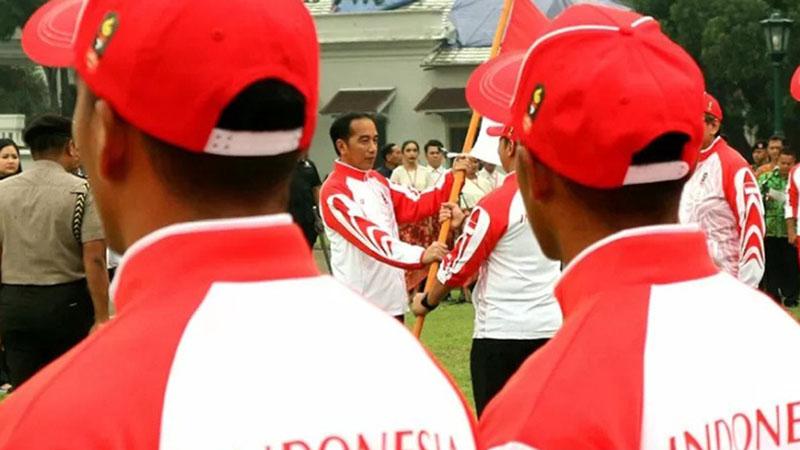 Presiden Joko Widodo melepas kontingen Indonesia ke Sea Games pada Rabu (27/11/2019) di Bogor. - Antara/Bayu Prasetyo