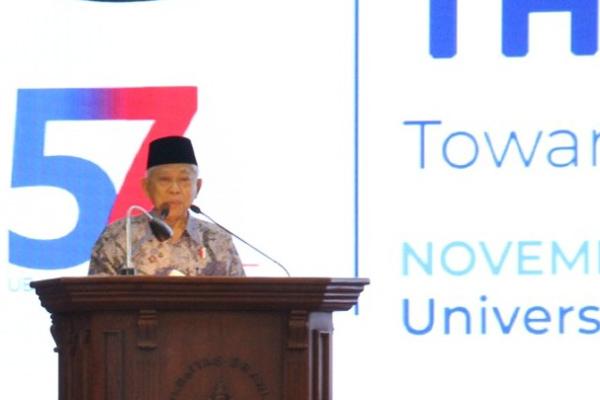 Wapres KH Ma'ruf Amin pada Internasional Halal and Thayyib Conference 2019, di Universitas Brawijaya, Rabu 27 November 2019. - Foto/Istimewa