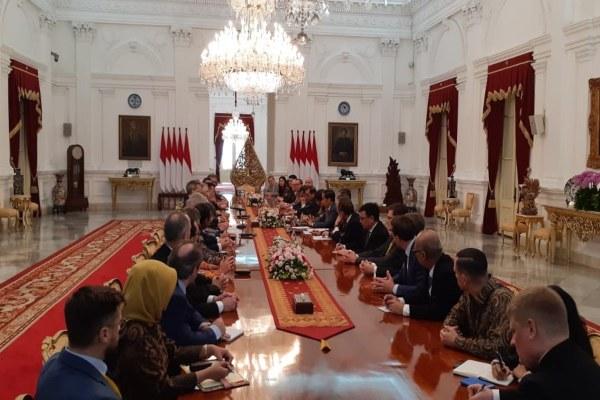 Presiden Joko Widodo menerima delegasi EU-Asean Business Council di Istana Merdeka, Kamis (28/11/2019). - Bisnis/Amanda K. Wardhani