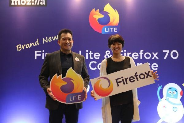 VP and General Manager of Emerging Markets, Mozilla, Stan Leong and Staff Product Manager, Core Browsers, Cindy Hsiang dalam acara konferensi pers Firefox Lite dan Firefox Browser