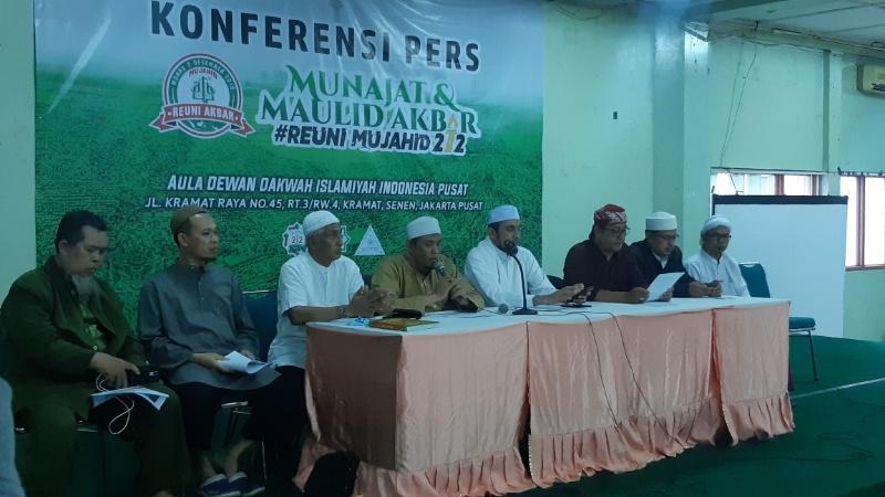 Konferensi pers terkait Maulid Akbar dan Reuni Mujahid 212 di Dewan Dakwah, Jakarta, Jumat (29/11/2019). Rayful Mudassir  -  Bisnis Indonesia
